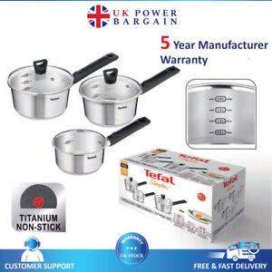 TEFAL SIMPLEO Stainless Steel Lid Milk Pan Sauce Cookware Non-Stick 3 Piece Set