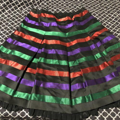 VTG Carlisle Silk Skirt Multicolored Pleated Women