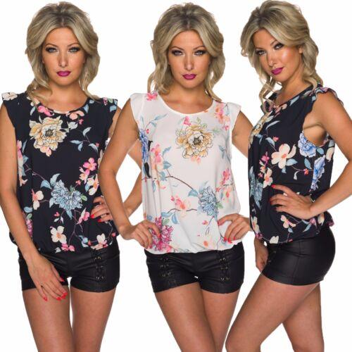 Damen Shirt T-Shirt Top Blue Tunika Blusentop Blumen Print Crepe Büro S 34 36 38