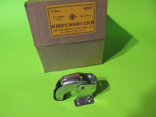 Vtg  NOS Storm Screen Barn DOOR CATCH Latch Zinc Plated Spring Loaded Hardware