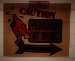 "Vintage Glitter Shirt T-Shirt Heat Transfer ""Caution Pea Brain at Work"" Humor"