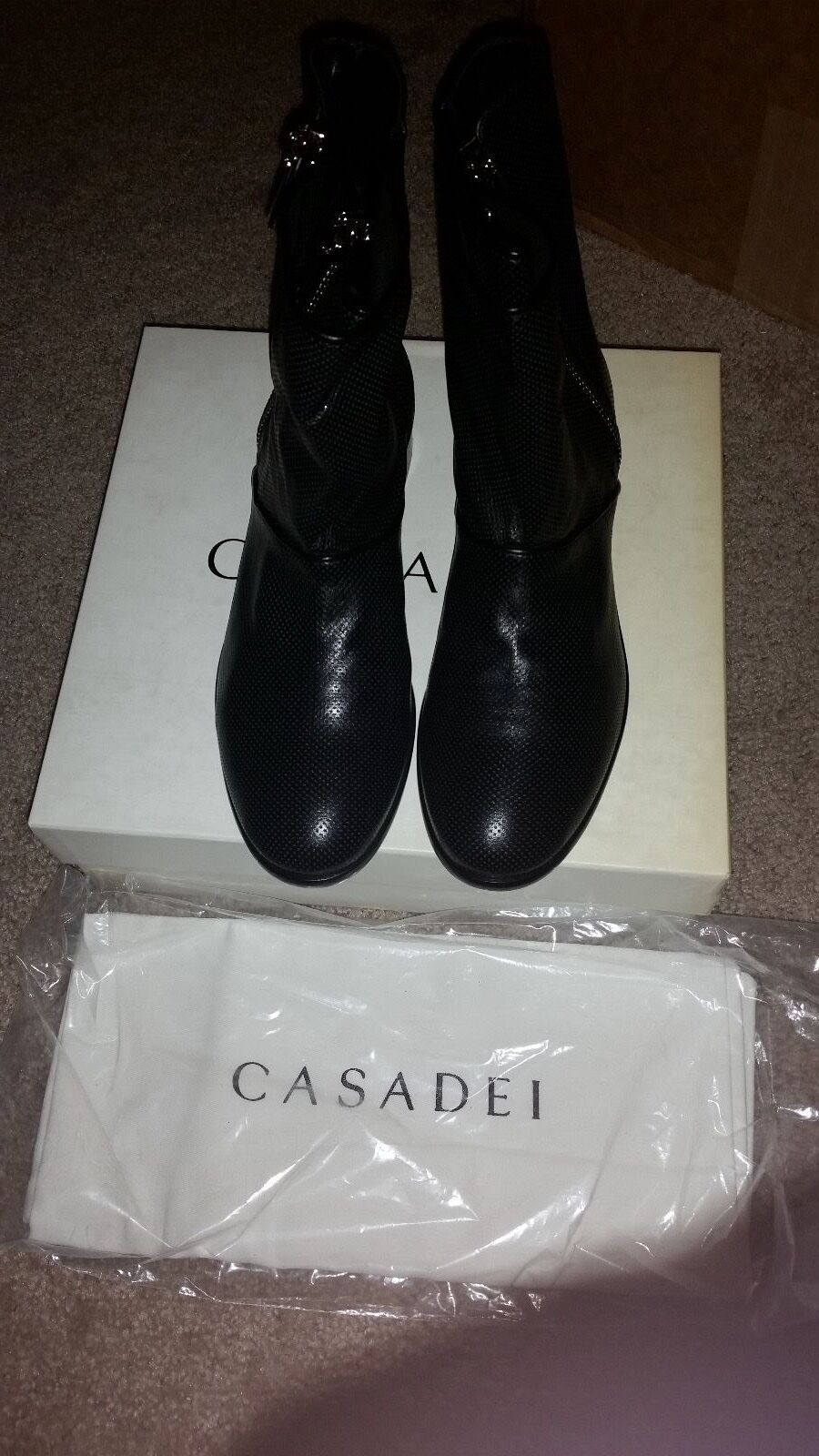 NWB & TAG CASADEI BLACK LEATHER ANKLE BOOTS  SIZE 40 (10 US)