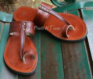 Details about Women Leather Sandals Handmade Indian Brown Slipper Ladies Biblical Sandals