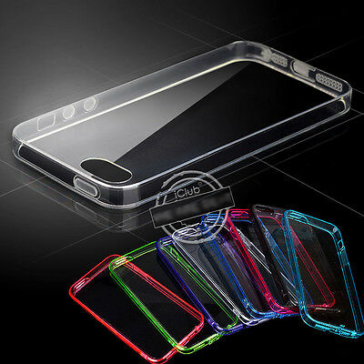 Clear Transparent TPU Silicone Back Soft Gel Bumper Cover Case For Iphone 4S 5S
