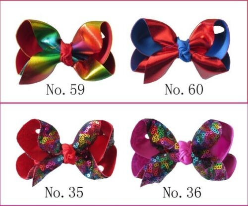 """Colorful 100 BLESSING Girl 4.5/"""" Spangle ABC Hair Bow Clip Flash Wholesale 68 No"""