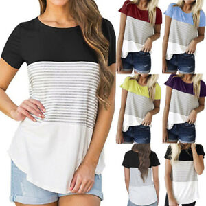 Summer-Women-Ladies-Short-Sleeve-Stripe-T-Shirt-Casual-Cotton-Blouse-Top-Casual