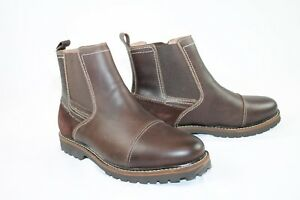 G-H-Bass-Brown-Leather-Ankle-Boots-10-Erving-Pull-On-NEW