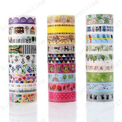 DIY Floral Washi Sticker Decor Roll Cartoon Paper Masking Adhesive Tape Crafts