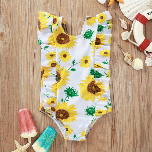 Toddler Baby Girls Swimwear Ruffles Swimsuit One-piece Bikini Beachwear Clothes