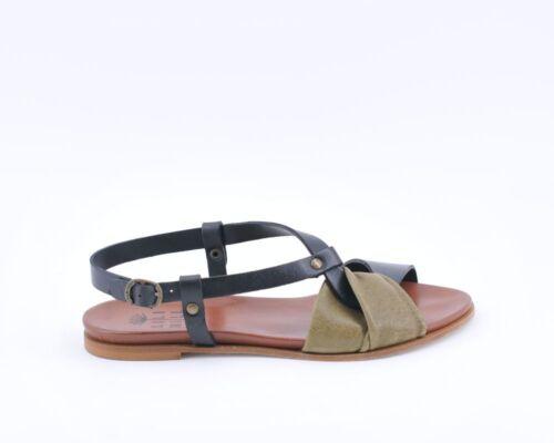 LILIMILL 5581 sandalo donna rock kaki pelle cuoio 100/% made in Italy