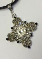 Gothic Black Ribbon Choker Necklace Ornate Silver Inverted Diamond Cross Pendant