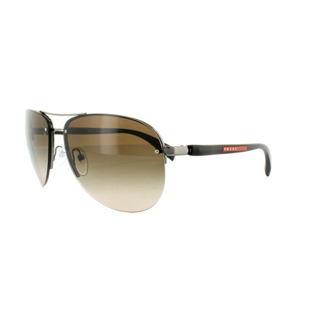 cf136c55081 PRADA SPS 56 M 5 AV 6 S 1 Gunmetal Brown Aviator Sunglasses for sale ...