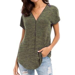 Womens-Zipper-Short-Sleeved-T-shirt-Deep-V-Neck-Blouse-Pullovers-Shirt-UA-50