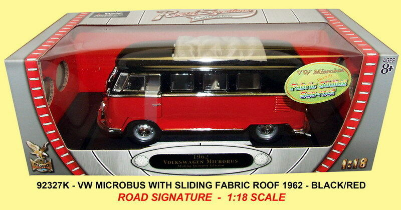 ROAD LEGENDS VW MICROBUS model with fabric sliding sunroof 1962 1 18th scale