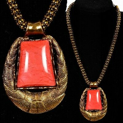 Noble Solid Collier Necklace Pendant Old Gold Look Coral Red