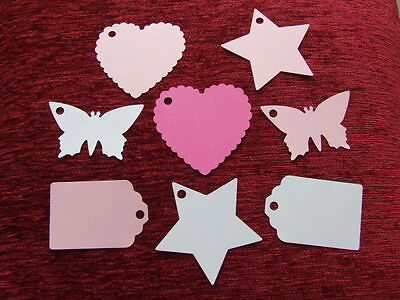 15 large BUTTERFLY HEART STAR TAGS PLACE NAME CARDS WEDDING PARTY GIFT TAG LABEL
