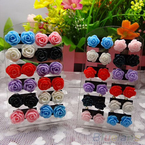 12 Pairs Vogue Rose Stud Earring Mixed Color Flower Wholesale Lot Nickel B87U