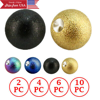 1-10PC 6mm Anodized Steel Balls 14G Threaded Piercing Jewelry Replacements Sets
