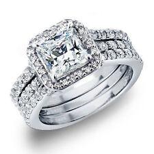 Women?s 3.28 CTW Princess Cut 925 Sterling Silver CZ Wedding Engagement Ring Set