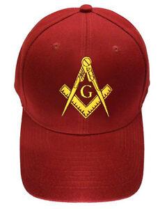 Freemason s Baseball Cap - Dark Red Hat with Golden Standard Masonic ... ee02385ecd67