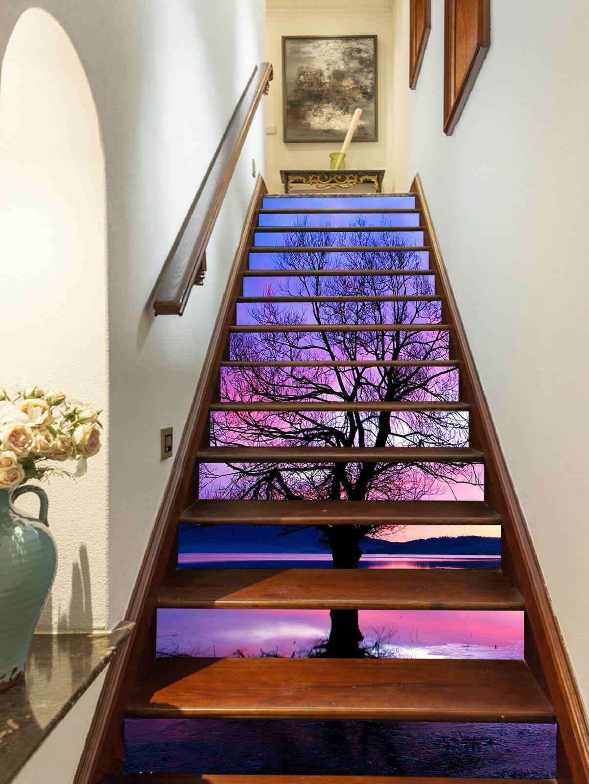 3D pink Wolken See Stair Risers Dekoration Fototapete Vinyl Aufkleber Tapete DE