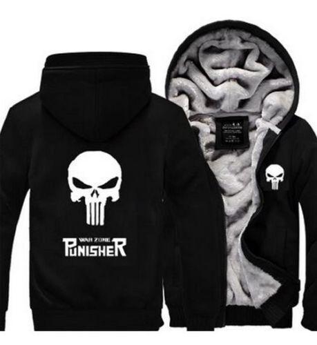Punisher Unisex Men Woman Skull Winter Fleece Thicken Jacket Coat Zipper Hoodie