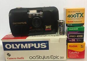 Black Olympus Stylus Epic 35mm Point & Shoot Film Camera Kit with box & Extras$$