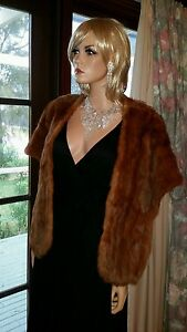 Vintage-Genuine-Brown-Fox-Fur-Stole-Wrap-Bolero-Shrug-Jacket-Cape-Capelet-Coat