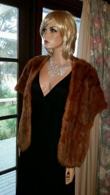 Vintage Genuine Brown Fox Fur Stole Wrap Bolero Shrug Jacket Cape Capelet Coat