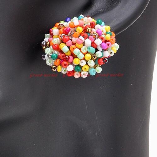 14 Couleurs Fashion Jewelry Elegant femmes Résine Graine Perles Clous D/'Oreilles Pour Pick