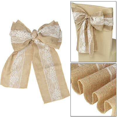 """7"""" X 108"""" Vintage Hessian Chair Cover Fuller Bow Sash Sewed Edge with White Lace"""