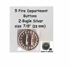 "2 Bugles 1 set of 5 vintage 7//8/"" Silver Metal  Shank Fire Department Buttons"
