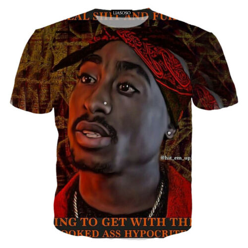 Women Men 2pac Tupac Rapper Hip Hop Singer 3D Print Casual T-Shirt Short Sleeve
