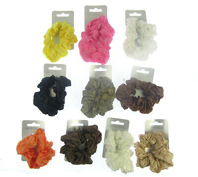 a small brown chiffon hair scrunchie with gold beading 7cm