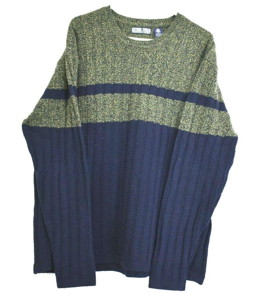 Vintage Structure Men's XL 100% Lambs Wool Mark Long Sleeve Sweater Green Navy