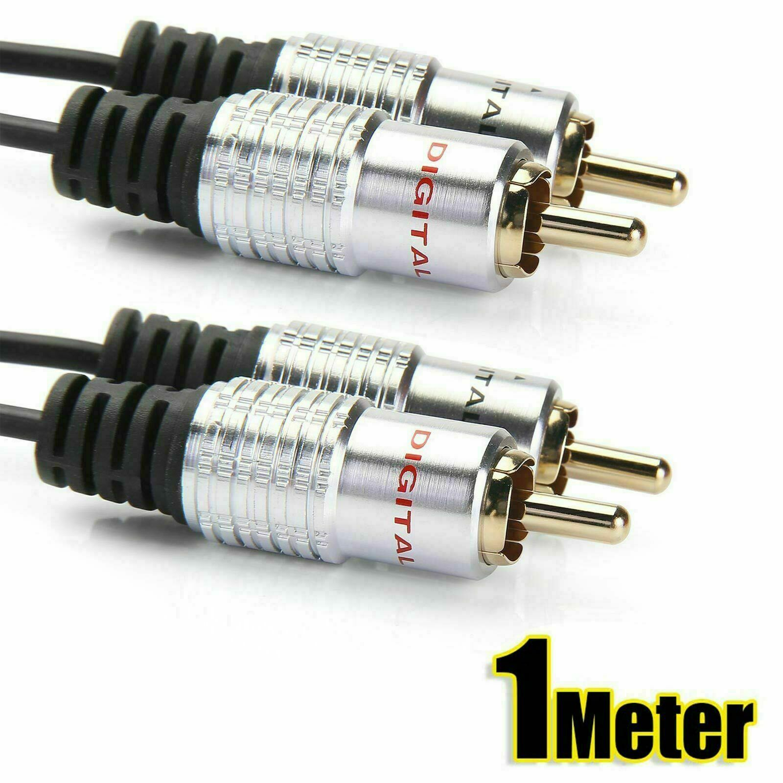Pro Audio OFC Metal 2 RCA Phono Plugs to Plugs Cable Lead Gold Twin RCA 1Meter