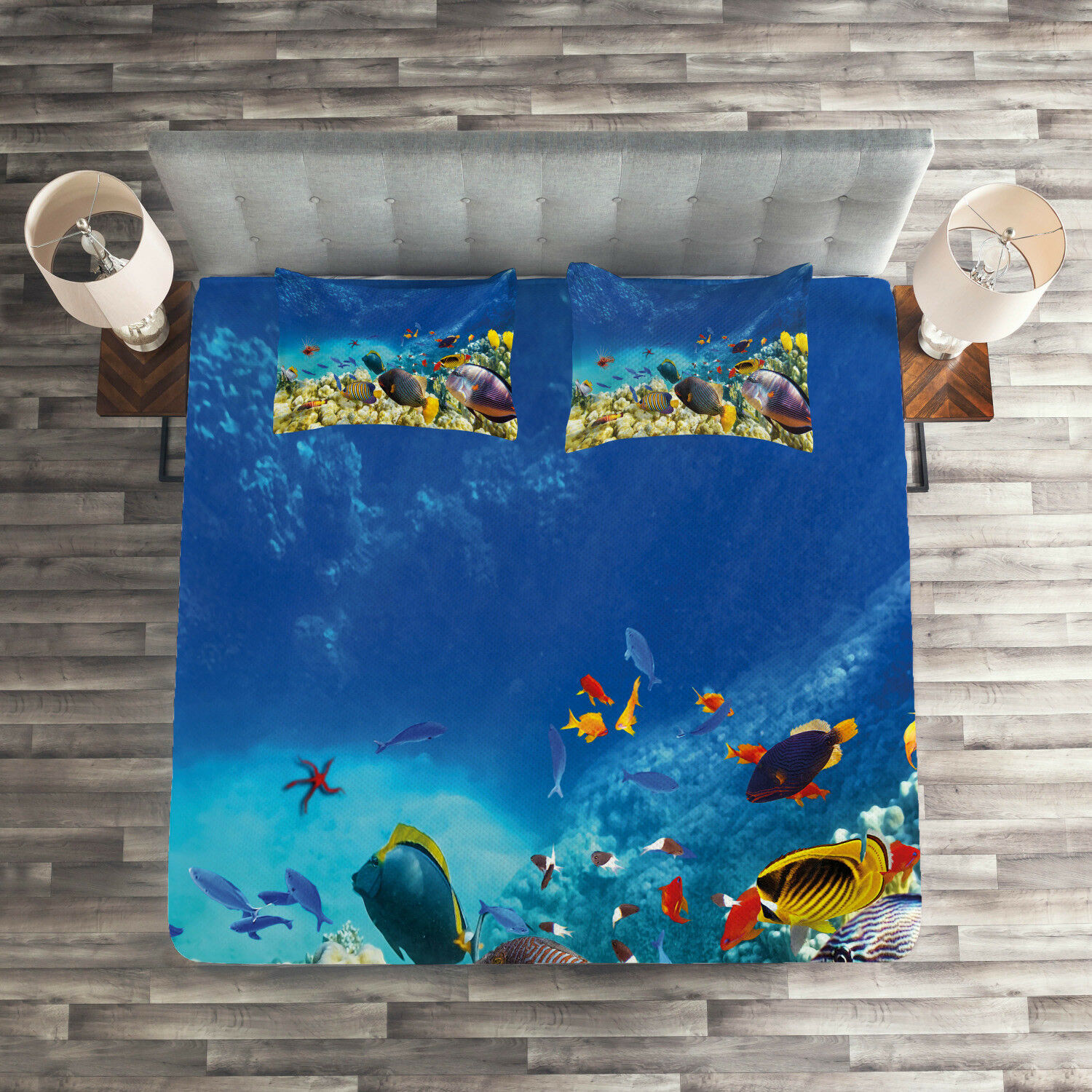 Fish Quilted Coverlet & Pillow Shams Set, Ocean Animals Print