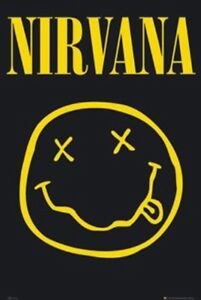 Details about Nirvana Smile Poster 36 x 24 Rock Music Logo Band Rock 90s  Grunge Gift Wall Art