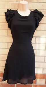 ANGELA-BABY-BLACK-FRILL-RUFFLE-SHOULDERS-A-LINE-SKATER-PARTY-TEA-DRESS-10-S