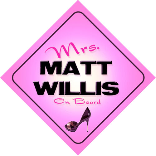 Mrs Matt Willis on Board Baby Pink Car Sign