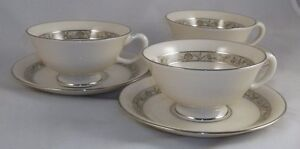 Lenox-SPRINGDALE-3-Footed-Cup-amp-Saucer-Sets-GREAT-CONDITION-platinum-trim