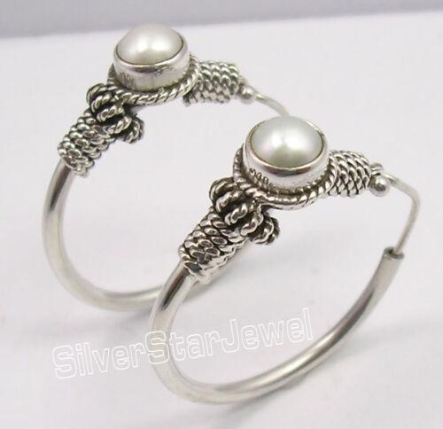 """925 Solid Silver Amazing AAA PEARL LADIES/' TRIBAL HOOP Earrings 1.2/"""" HANDWORK"""