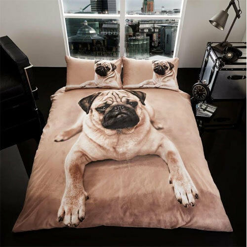 King Size Bed 3D Pug Dog Duvet Set Quilt Cover With 2 Pillow Cases