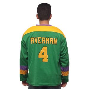 100% De Qualité Paillettes Averman #4 Mighty Canards Film Hockey Jersey Années 90 Costume Forte RéSistance à La Chaleur Et à L'Usure