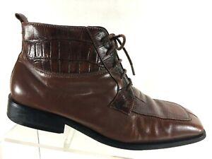 giorgio-brutini-Mens-Ankle-Boots-Size-8-M-Croc-Print-Split-Toe-Leather-Shoes