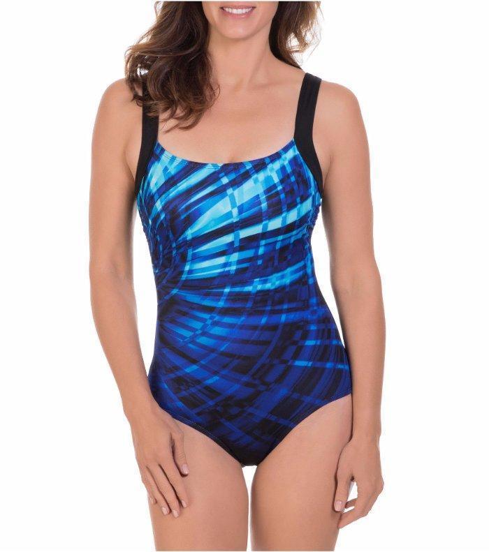 REEBOK® 14 bluee Laser Focus Anti-bacterial Swimsuit NWT