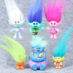 6Pcs//Set 8cm Trolls Figure Collectible Dolls Poppy Branch Biggie PVC Trolls