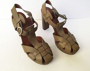 67d32597a8f8 Image is loading SEE-BY-CHLOE-Olive-Green-Heels-Platforms-SZ-