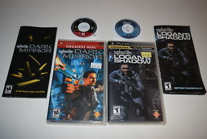 Set-of-2-Syphon-Filter-Logan-039-s-Shadow-Dark-Mirror-Playstation-PSP-Games-Complete