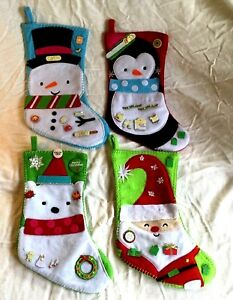 image is loading felt holiday christmas stocking choose santa bear penguin